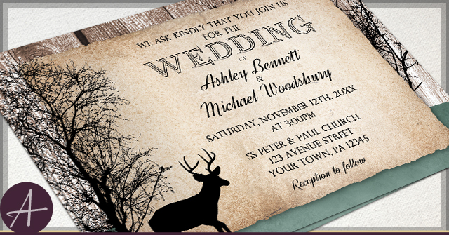 ... Rustic Background Wedding Woodsy Deer Green Hunter Faded Rustic With Wedding  Invitations, ...