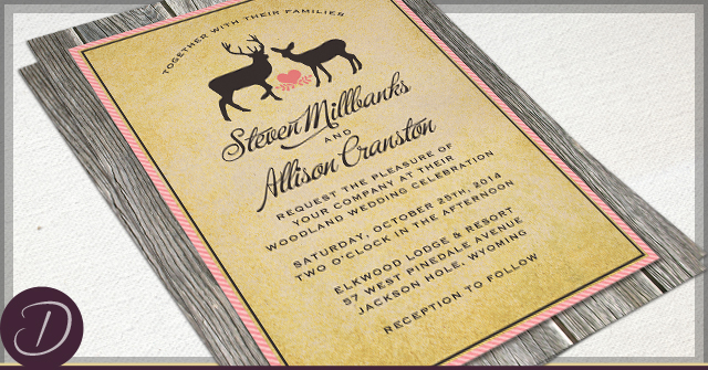 Rustic Deer Invitations by D