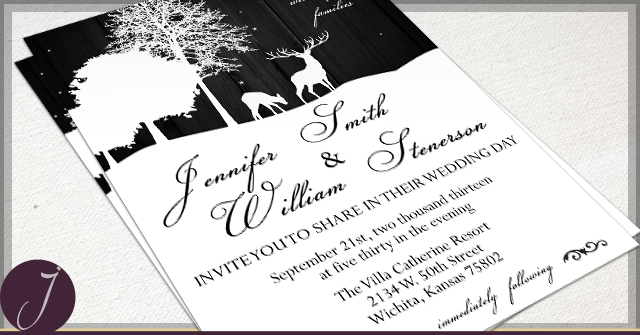 Rustic Deer Invitations by J