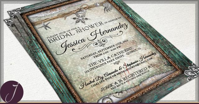 Rustic Seashells Bridal Shower Invitations