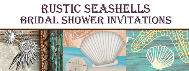 Rustic Seashells Bridal Shower Invitations