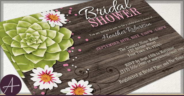 rustic succulent invitations by a rustic succulent floral pink confetti bridal shower invitations