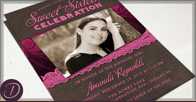 Rustic Flourish Photo Invitations by D
