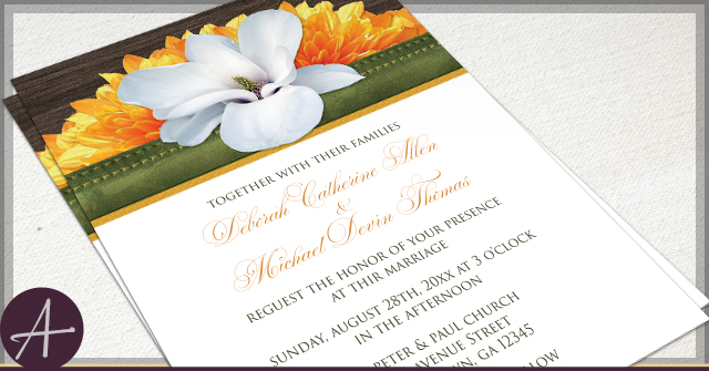 Rustic Magnolia Invitations by A