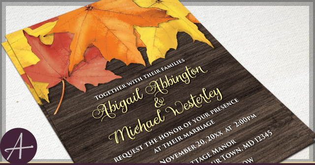 rustic autumn leaves wood wedding invitations - Fall Themed Wedding Invitations