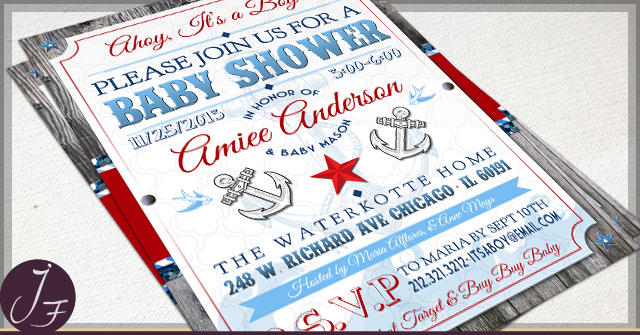 rustic nautical baby shower invitations, Baby shower invitations