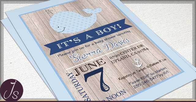 Rustic Little Whale Nautical Theme Baby Shower Invitation