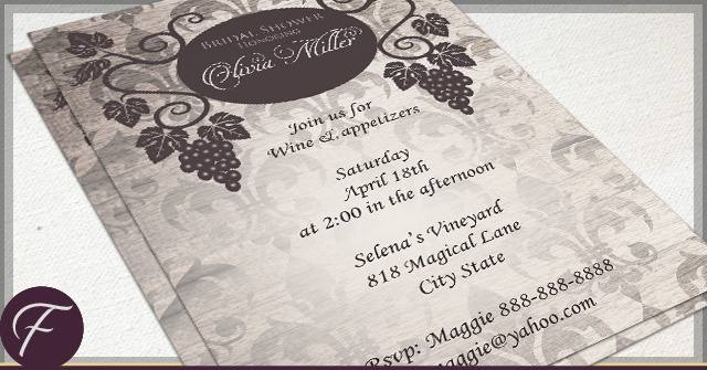 Rustic Vineyard Bridal Shower Invitations by F