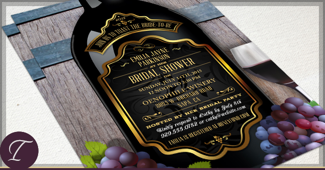 Rustic Vineyard Bridal Shower Invitations by I