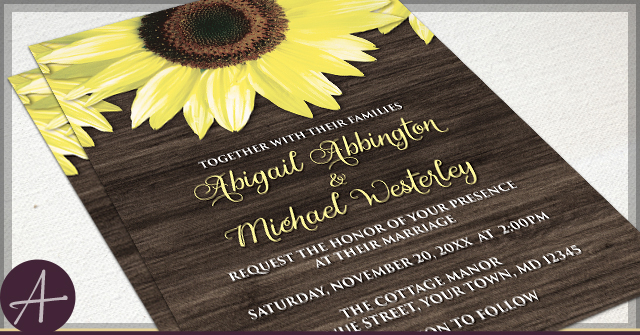 Rustic Sunflower Wedding Invitations by A
