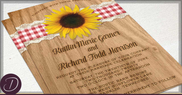 Rustic Sunflower Wedding Invitations by D