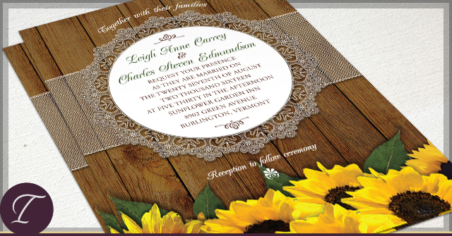 Rustic Sunflower Wedding Invitations by I