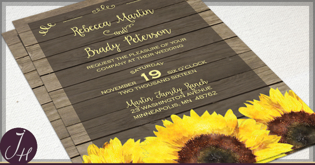 Rustic Sunflower Wedding Invitations by JH
