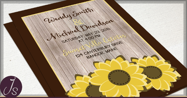Rustic Sunflower Wedding Invitations by JS