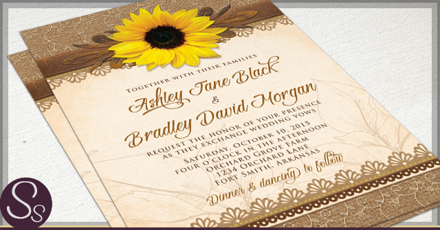 Rustic Sunflower Wedding Invitations Paper